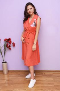 Rochie dama midi stil trench cu imprimeu - Camila - corai