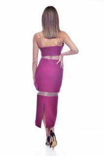 Rochie eleganta bodycone lunga - burgundy