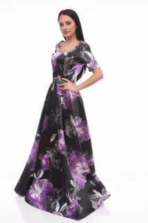 Rochie lunga de ocazie satinata cu imprimeu floral mov