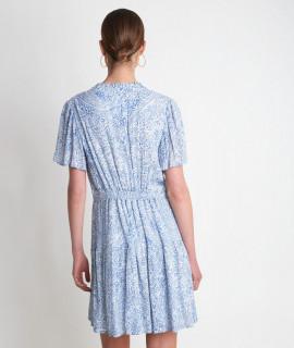 Rochie midi din vascoza cu imprimeu-