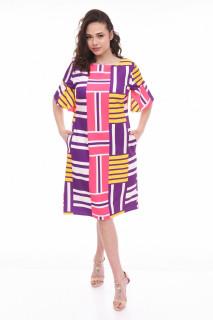 Rochie midi dreapta stil casual cu imprimeu si buzunare- Lisa- mov-