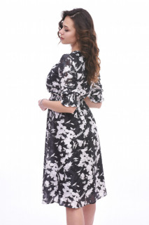 Rochie midi eleganta cu imprimeu si volane