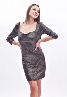 Rochie mini eleganta cu paiete si sclipici - maro