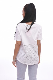 Tricou dama alb din bumbac cu imprimeu Karol