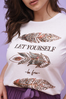 """Tricou dama Karol cu imprimeu """"Be Free """"-E-"""