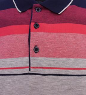 Tricou Polo Barbati Regular fit Tony Montana cu dungi - gri/rosu