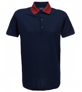 Tricou Polo Regular fit- bleumarin/grena
