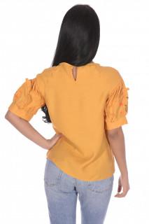 Bluza dama cu maneca scurta si broderie florala-mustar-