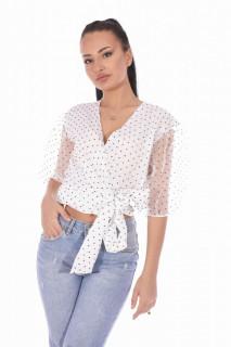 Bluza eleganta cu maneci bufante si dublura de organza- alb -E