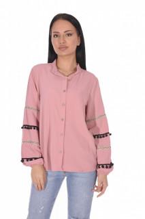Camasa eleganta cu broderie si ciucuri pe maneci - roz corai-