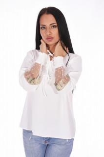 Camasa eleganta cu broderie si tull pe maneci- alb-E-