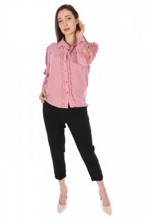 Camasa eleganta cu volane si dantela pe umeri-roz corai-E-