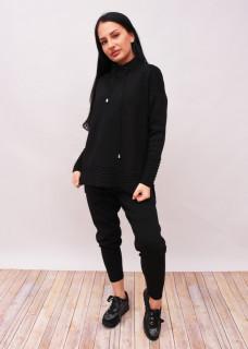 Compleu dama din doua piese din tricot negru cu guler inalt