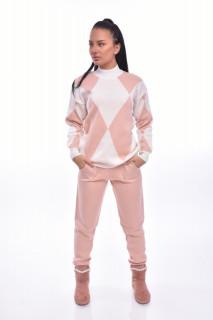 Compleu dama din doua piese din tricot roz prafuit cu imprimeu
