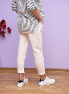 Pantaloni casual din bumbac cu tiv maruntit-alb