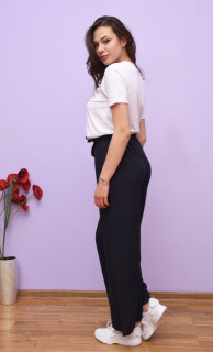 Pantaloni dama evazati cu talie inalta -bleumarin