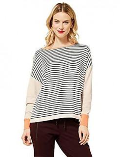 Pulover din tricot fin cu dungi pe fata