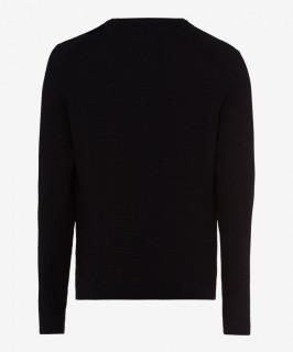 Pulover negru cu guler in V BRAX