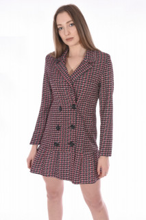 Rochie blazer in carouri-roz-