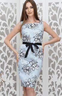 Rochie cu flori si cordon in talie