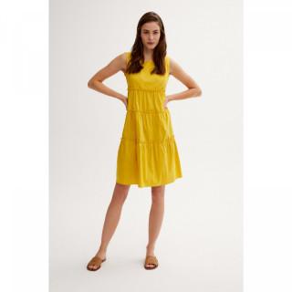 Rochie din bumbac cu volane - galben