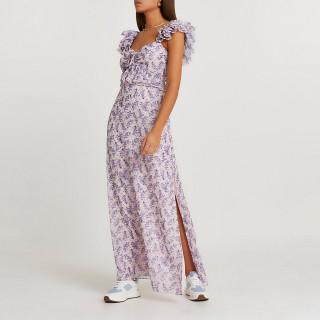 Rochie lunga cu imprimeu floral si maneci cu volane