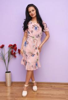 Rochie midi cu imprimeu floral si volane -Marina-roz prafuit