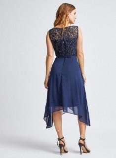 Rochie midi eleganta cu dantela si voal- bleumarin-E