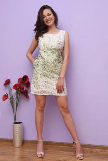 Rochie mini cu imprimeu floral - verde-E-