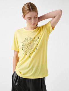 Tricou dama casual cu imprimeu - galben