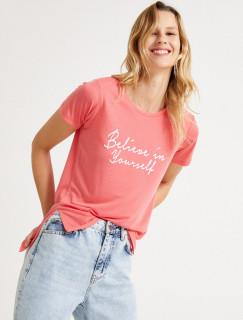Tricou dama casual cu imprimeu - roz