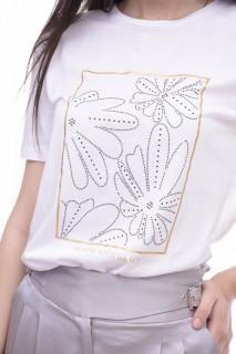 Tricou dama din bumbac cu imprimeu floral Karol- alb -