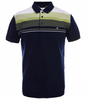 Tricou Polo Barbati Regular fit Tony Montana cu dungi - bleumarin/verde