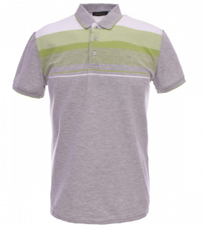 Tricou Polo Barbati Regular fit Tony Montana cu dungi - gri/verde