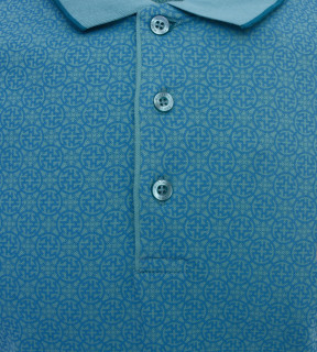 Tricou Polo Barbati Slim Fit Tony Montana cu imprimeu - turcuoaz