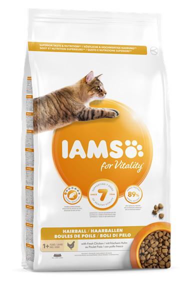 Mancare pisici IAMS Vitality Adult Hairball cu pui proaspat