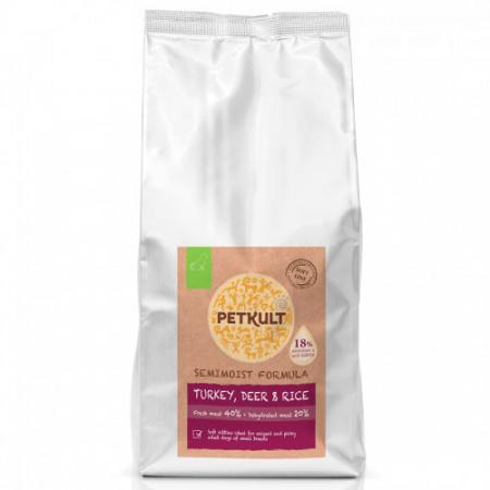 Hrana semi-umeda caini Petkult adult talie mica curcan caprioara si orez 5 kg