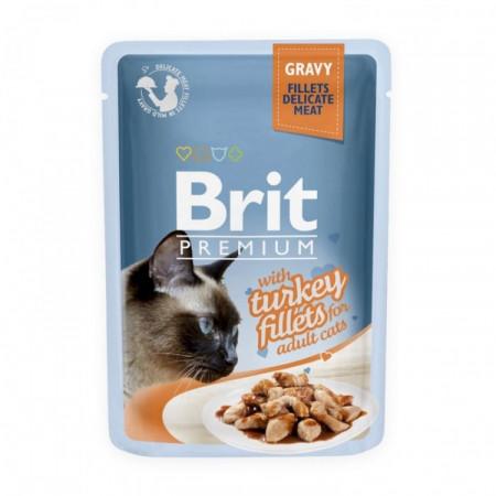 Brit Premium Cat cu fileuri de curcan în sos