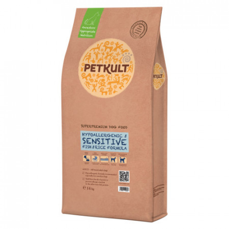 Hrana uscata caini Petkult Sensitive peste si orez 14 kg