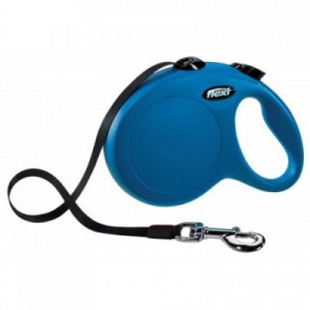 Lesa pentru caini Flexi New Classic Albastru cu banda L 5 M