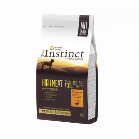 True Instinct High Meat Dog Medium & Maxi Adult cu pui 12 kg