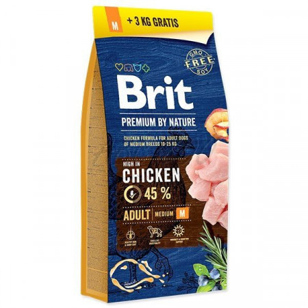 Brit Premium by Nature Adult M cu pui 15 Kg + 3 kg gratis