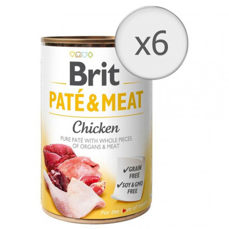 Pachet Economic Brit Pate and Meat Pui 6 x 400 gr