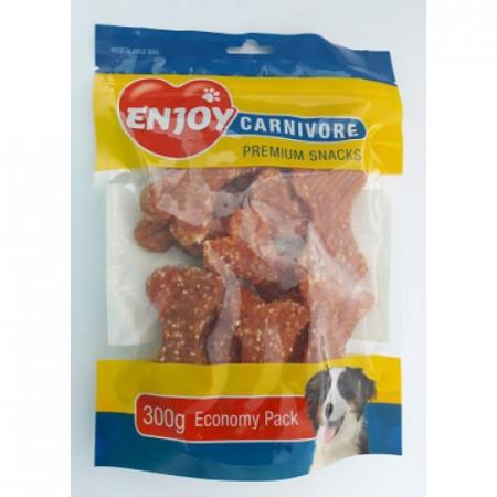 Recompense pentru caini Enjoy Carnivore oase cu pui si orez 300 g