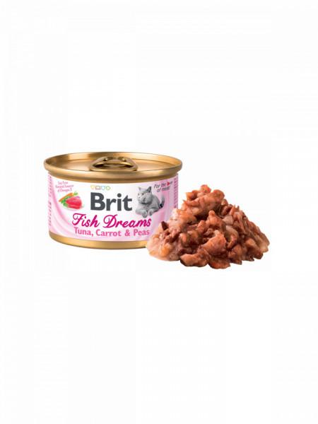 Hrana umeda pentru pisici Brit Fish Dreams, Ton, Morcov si Mazare