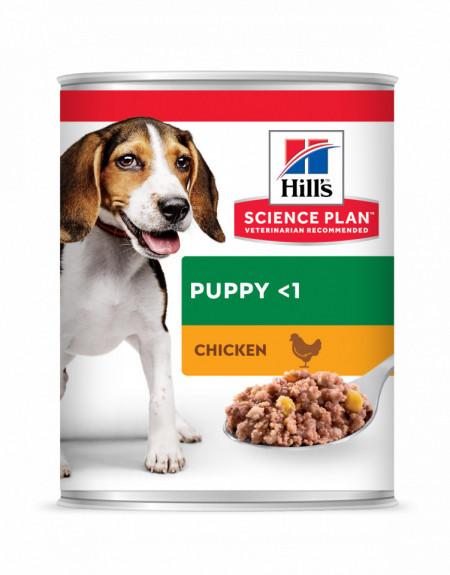 HILL'S SCIENCE PLAN PUPPY hrană pentru câini cu pui 370 g (conservă)