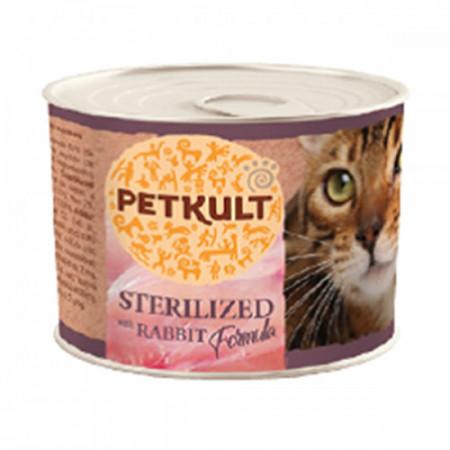 Hrana umeda pentru pisici Petkult Sterilised cu iepure 185 g