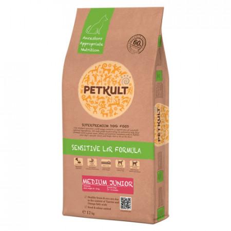 Hrana uscata caini Petkult Sensitive Medium Junior miel si orez