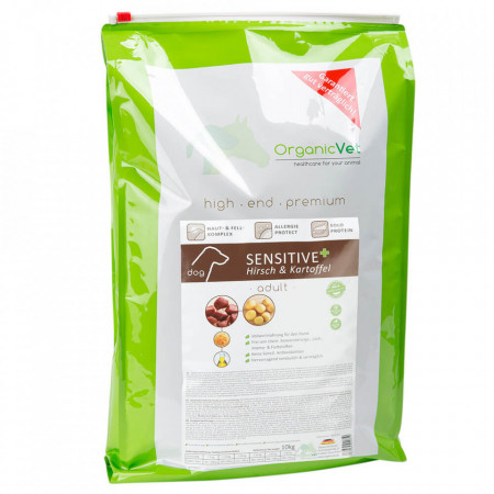 Hrana uscata pentru caini, OrganicVet Sensitive, Cerb si Cartofi, 10kg