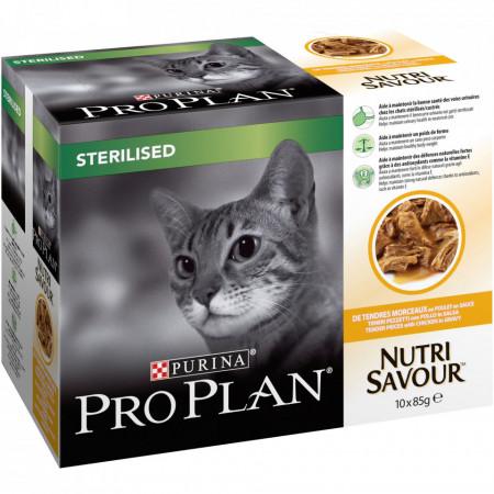 Purina Pro Plan Sterilised NUTRISAVOUR cu Pui 10 x 85 gr